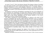 Statement - Holy Synod
