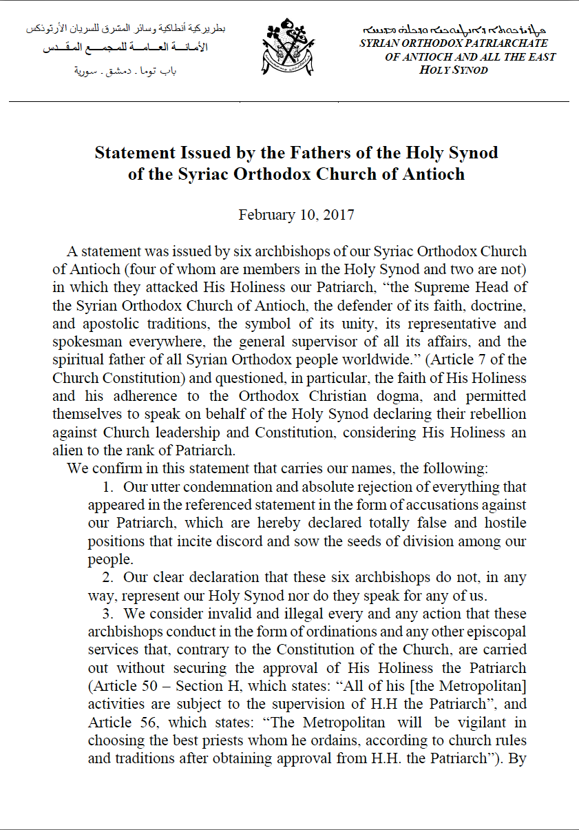 Statement Issued by the Fathers of the Holy Synod of the